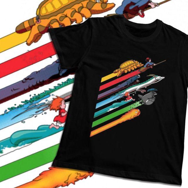 Unisexe t-shirt étoile Ghibli Hayao Miyazaki mon voisin Totoro esprit bon coton été col rond dessin animé imprimé manches courtes
