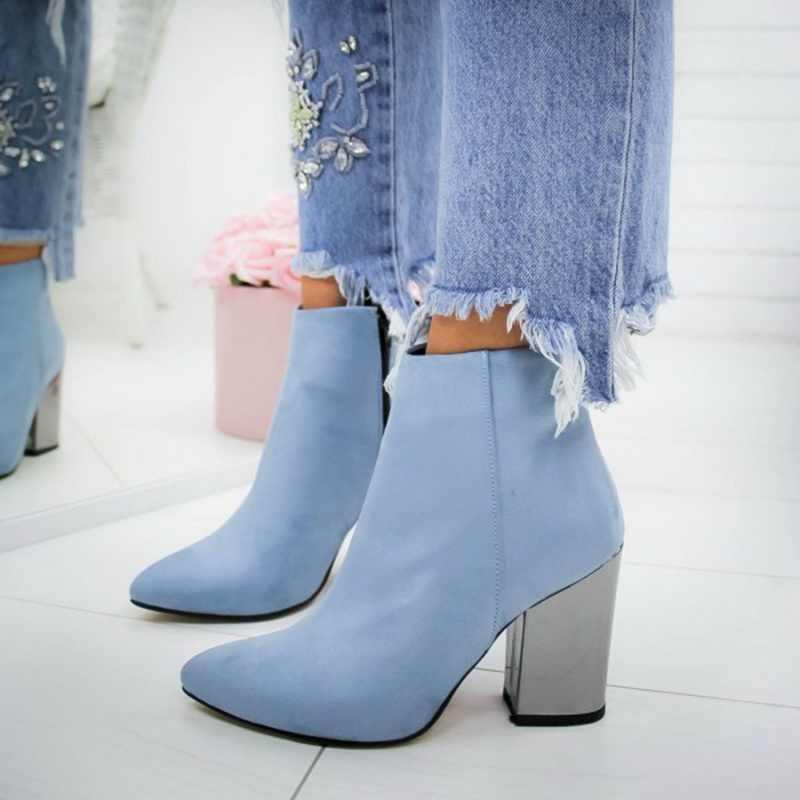 LASPERAL รองเท้าผู้หญิงข้อเท้า FLOCK Toe รองเท้าฤดูใบไม้ร่วงฤดูใบไม้ผลิ 2020 ใหม่รองเท้าส้นสูงรองเท้า Botas Mujer Dropship