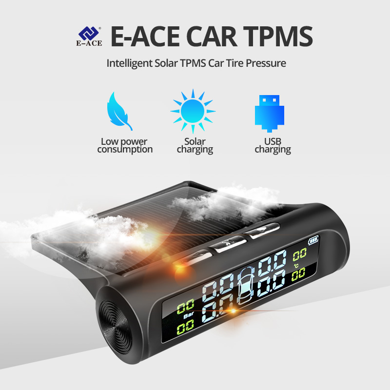 E-ACE Solar Power TPMS Car Tire Pressure Alarm Monitor System Auto Security Alarm Systems Tyre Pressure Temperature Warning 1