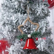 New Year Christmas Tree Bell Pendant Cute Ornaments Christmas Bells Wrought Iron Painted Bells Hanging(China)