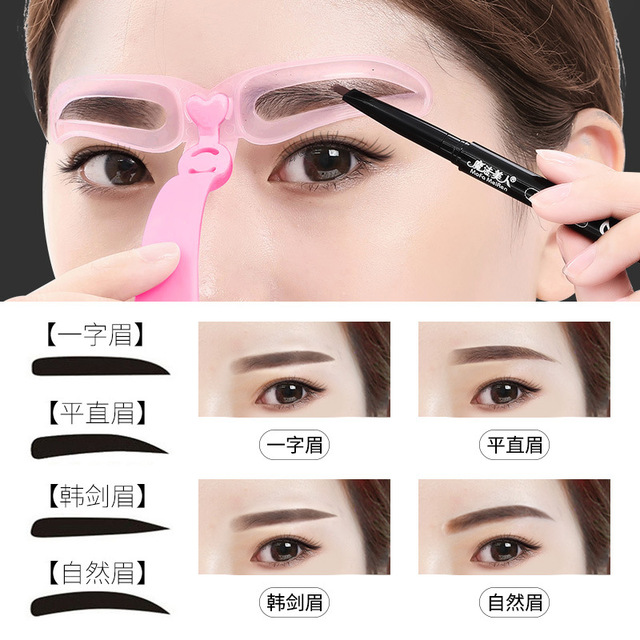 New 4 pcs Eyebrow Stencils Shaping Grooming Eye Brow Make Up Model Template Reusable Design Eyebrows Styling Tool 1