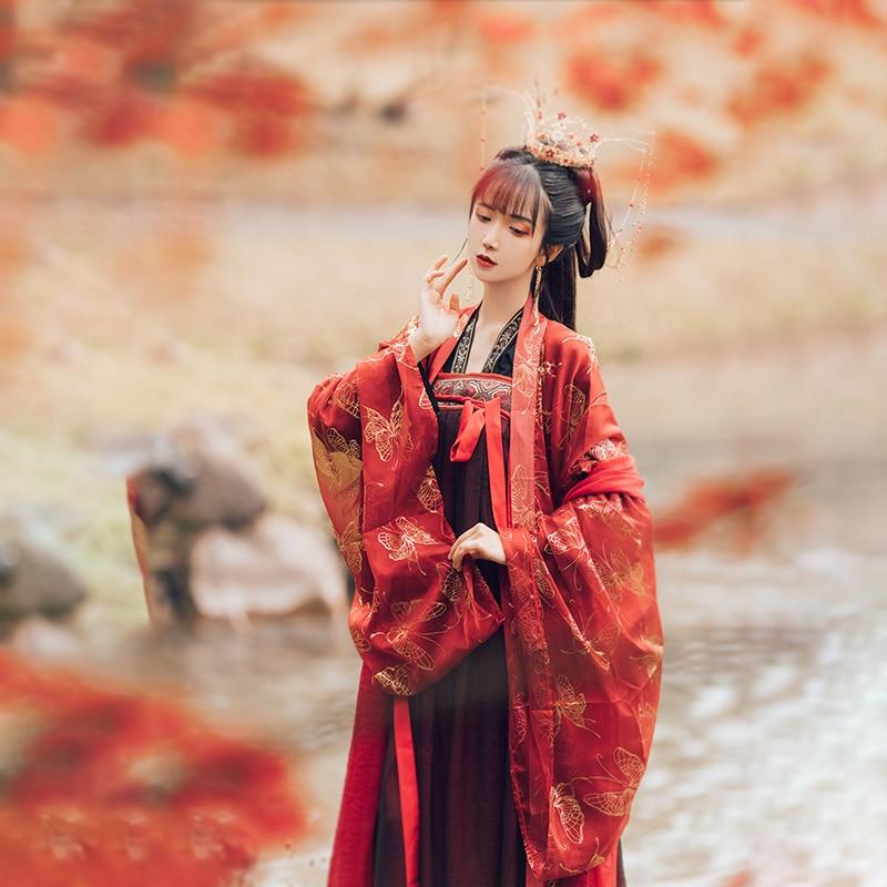 2020 Chinese Style Women's Hanfu Ancient Chinese Costume Set Traditional Chinese Beautiful Printed Dance Hanfu Folk Dance Dress