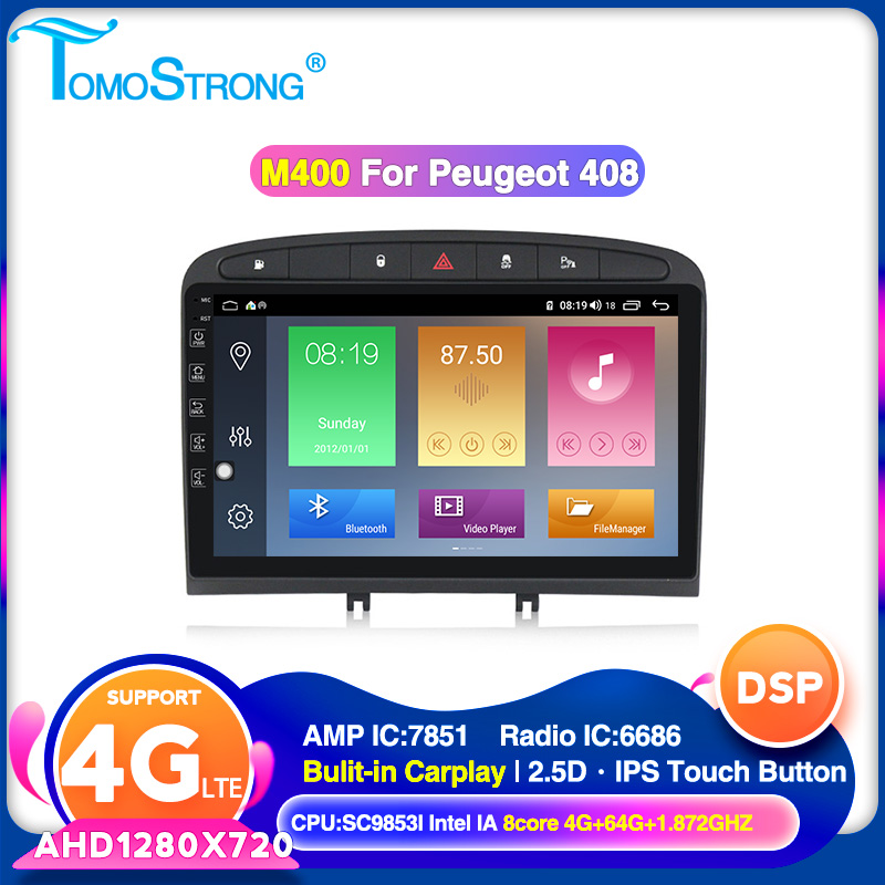 TOMOSTRONG AHD 1280x720 4GB 64GB Car Multimedia Radio Player For PEUGEOT 308 2007-2013,408 2011-2014 Navigation GPS 4G LTE