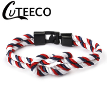 Cuteeco 2019 New High Quailty Men Women Nylon Corde Infinity Knot Bracelet Fold Over Clasp Navy Style Party Jewelry Pulseras