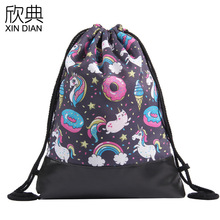 amazon new PU leather bottom beam of the pocket unicorn 2019 color backpack draw string bag