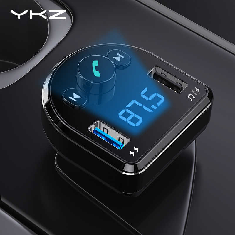 Car Charger YKZ LED Display 3.1A Fast Charging Car Phone Charger Handsfree Bluetooth FM Transmitter MP3 Player for Mobile Phone