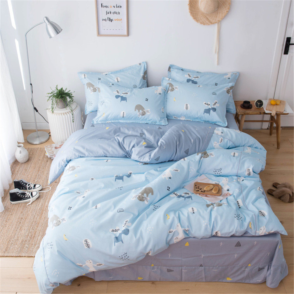 2019 bleu clair Deers arbres ensemble de literie de luxe longue base coton égyptien draps 3/4 pièces double reine taille housse de couette ensemble