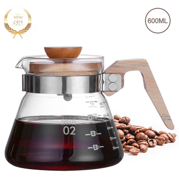 New 600ml Pour Over Glass Coffee Server Carafe Drip Coffee Pot Coffee Kettle Brewer Barista Percolator Coffee Pot