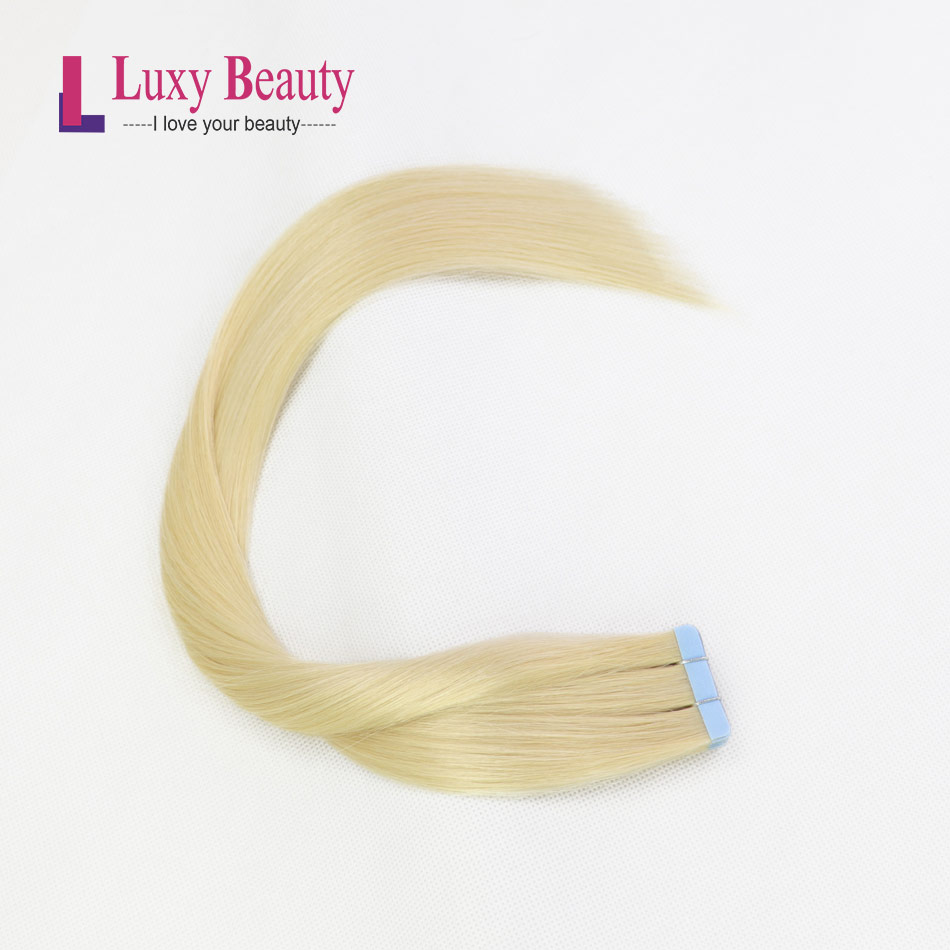 """LuxyBeauty Tape In Remy Hair Extensions #613 Light Blonde Human Hair Straight  Sided Skin Weft Hair 20/40/60/80pcs 14"""" - 22"""