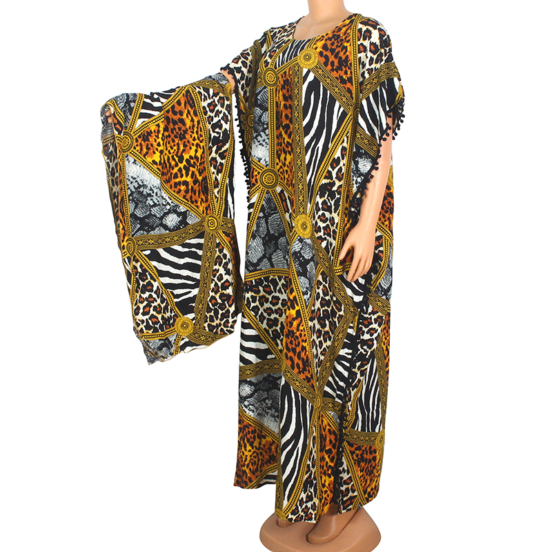 2020 Spring New Arrival African Dashiki Leopard Pattern Print 100% Cotton Summer Fashion Pom-pom Short Sleeve Dress With Scarf