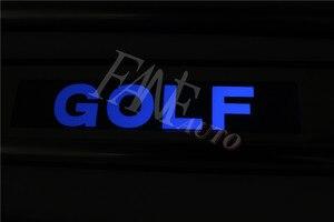 Image 2 - נירוסטה Led דלת אדן שפשוף צלחת משמר אדני מגן Trim עבור פולקסווגן פולקסווגן גולף 7 MK7 גולף R GTI 2012 2019
