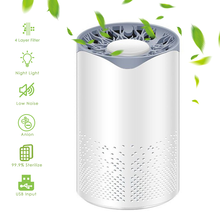 Portable LED UV Sterilize 4 Layer Filter Air Purifier USB Charging Night Light Air Cleaner Anion Ionizer Negative Ion Generator