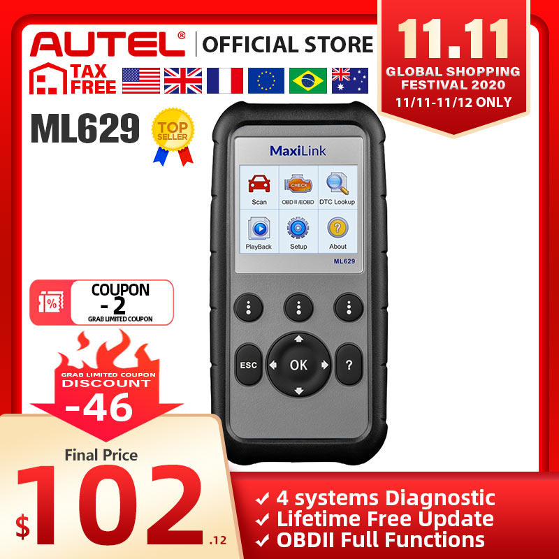 Autel ML629 OBD2 Scanner Automotive Car Diagnostic Tool Engine Transmission ABS SRS OBD 2 Code Reader PK CRP129E CR3001 CRP123