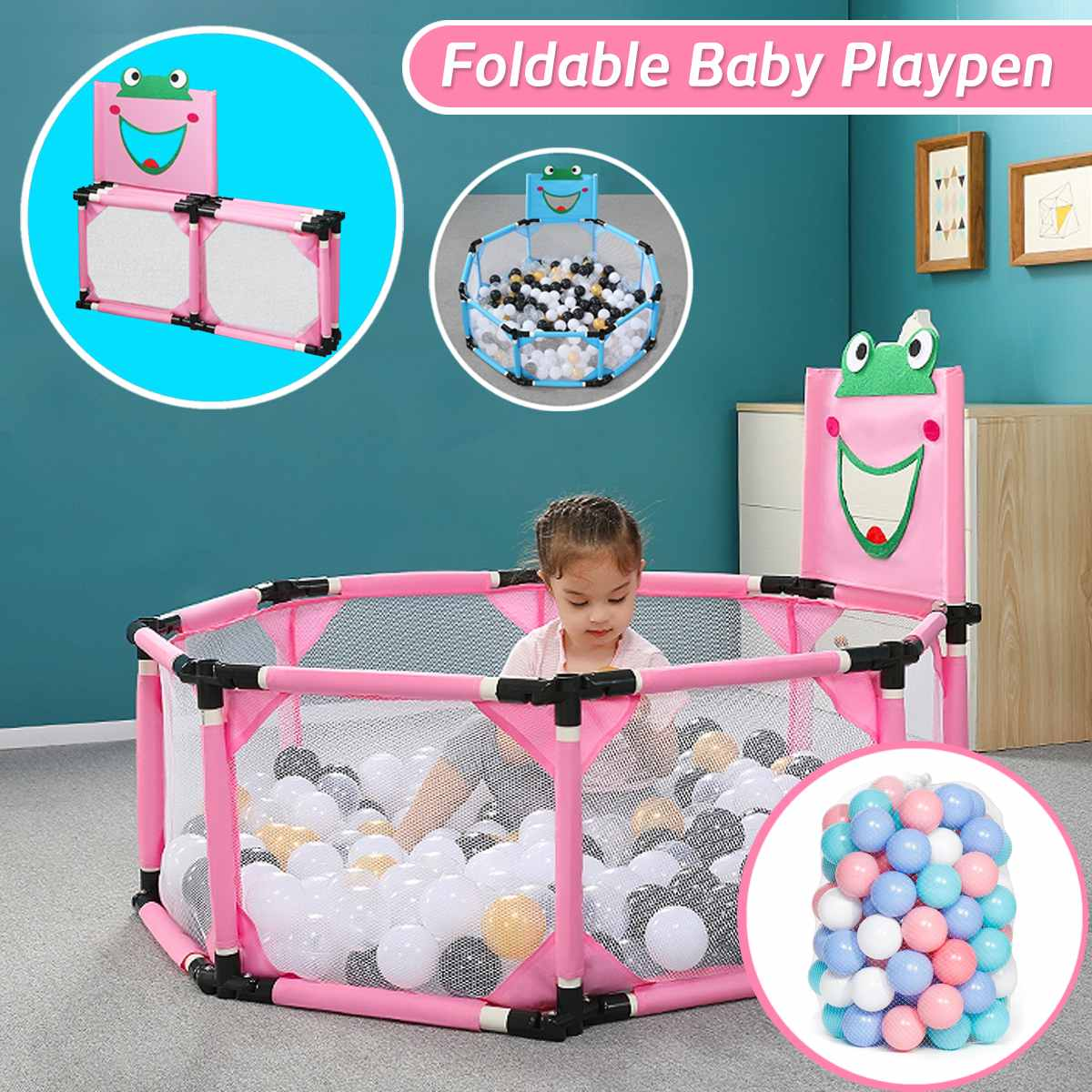Kids Portable Baby Playpen Folding Fence For Newborn Baby Pool Children's Playpen Carton Game Tent Infant Ball Pool Baby Hurdle