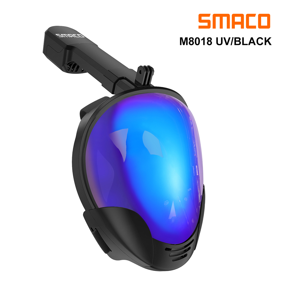SMACO Full Face Snorkel Mask With UV Protection Anti-Fog Detachable Camera Mount 180 Degrees Panoramic View