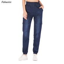 Mom Jeans Women Plus Size Streetwear High Waist Cargo Jeans Elastic Waist Pockets Denim Loose Slim Jeans Autumn 2019 Woman Jeans цена и фото