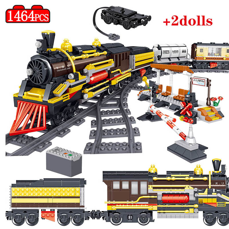 1464PCS City Railway Electric Rail Train Blocks Building Blocks Legoingly Technic Track Train Figures Bricks Toys For Boys