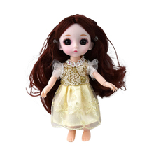 16 Cm Mini Big Eye Doll Movable Joint Girl Baby 3D Big Eyes DIY Toy Doll Simulation Princess With Clothes Dress Up