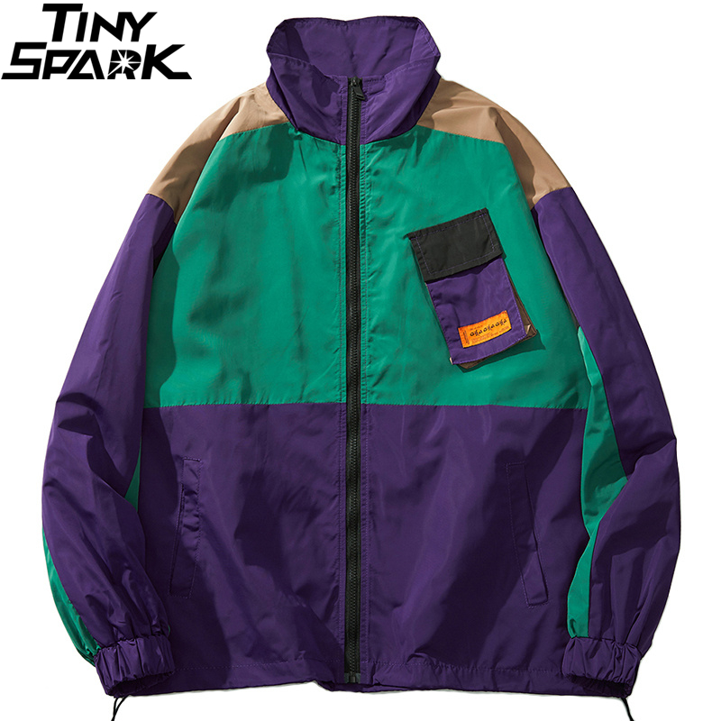 Men Hip Hop Streetwear Jacket Coat Retro Color Block Patchwork Harajuku Jacket Windbreaker Oversized Track Jacket Pocket Autumn