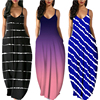 Women Summer Plus Size Maxi Dresses Sexy Solid Stripes Dress Casual Female Loose Sleeveless Tie Dye Beach Party Dress 2021 New 6
