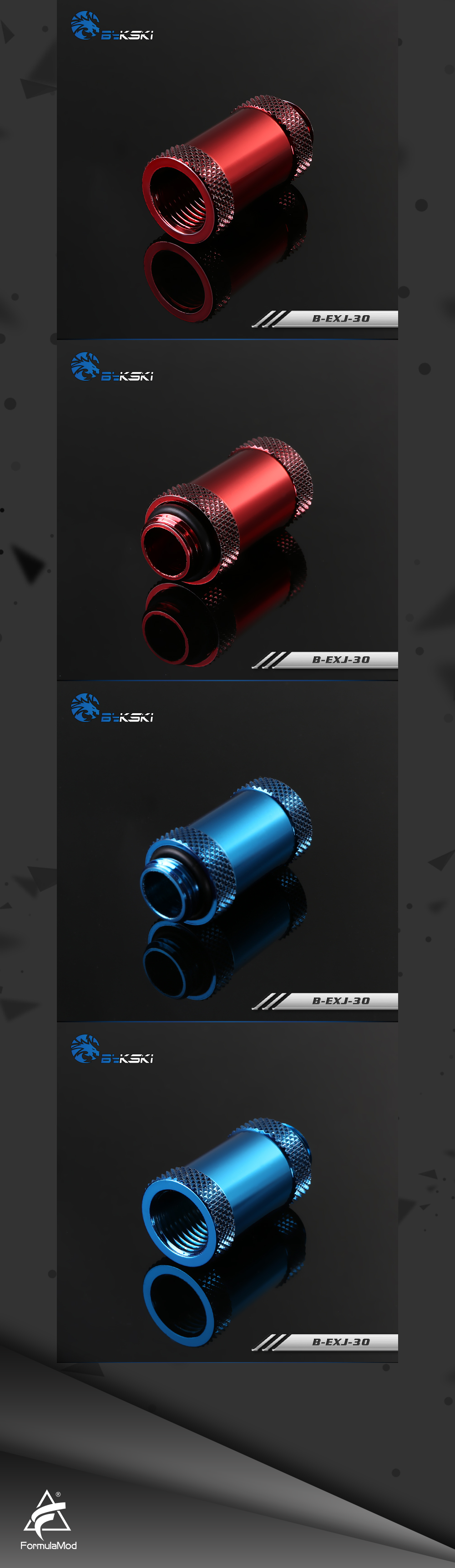 Bykski B-EXJ-30, 30mm Male To Female Extender Fittings, Boutique Diamond Pattern, Multiple Color G1/4 Male To Female Fittings
