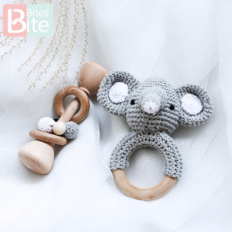 Baby Wooden Teether 1set/2PC Crochet Animal Elephant Rattle Toys Wooden Balnk Rodent Ring For Toys Music Children'S Goods Gifts