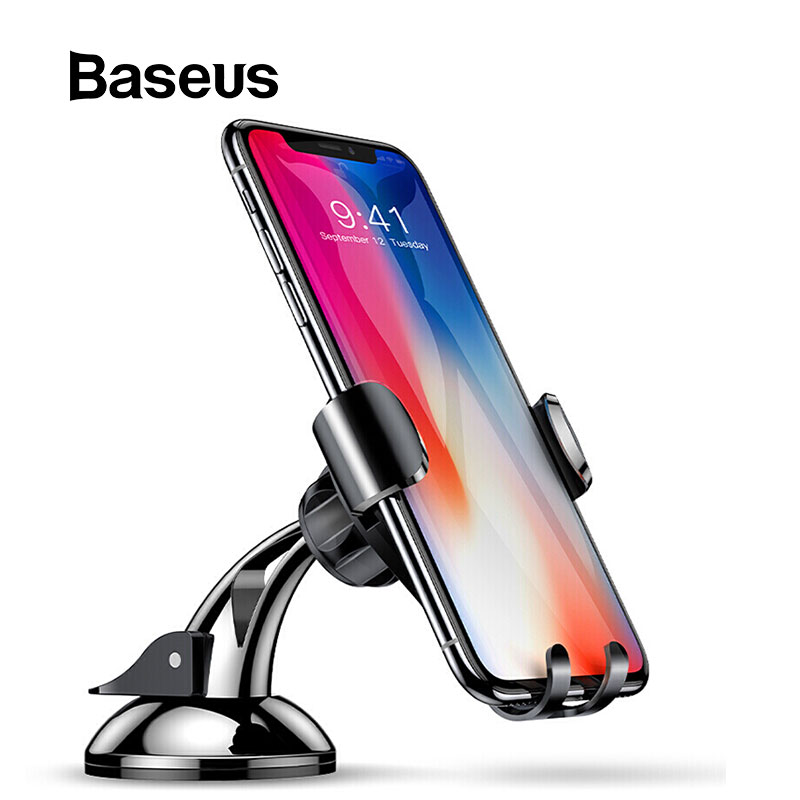 Baseus Gravity Car Holder Dashboard Sucker Phone Holder Stand in car Sucking Mobile Phone Holder For iPhone X 8 7 Huawei Mate 9 mobile phone