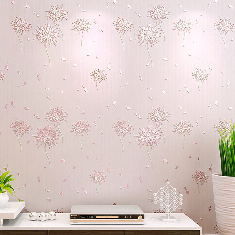 Pastoral Style Non-woven Wallpaper CHILDREN'S Room Bedroom Living Room Television Background Wall 3D Relief Warm Pink Dandelion