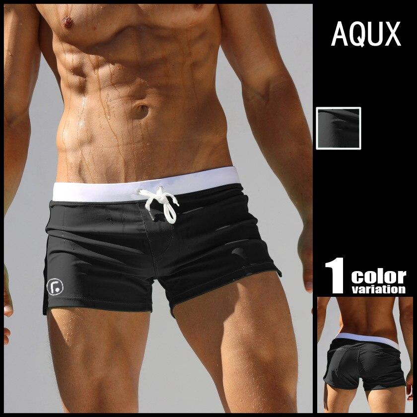 Aqux Top Grade Men's Low-Rise After Pocket Design 23 Points Young MEN'S Swimming Trunks Two Shorts Men's AussieBum Fashion