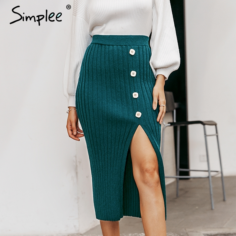 Simplee Sexy Side Split Button Women Knitted Skirt Elegant Pleated Female Midi Skirt High Waist Party Wear Ladies Bottom Skirt