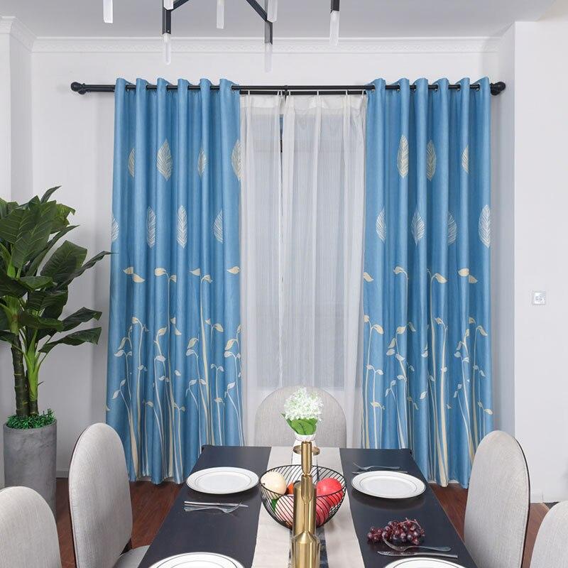 Hot Modern Leaf Blackout Blue Curtains for Living Room ...