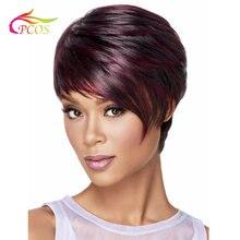 Короткий черный и красное вино парик для черных женщин с боковой