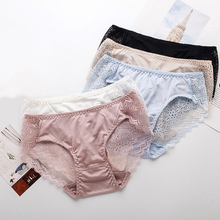 3pcs/ lot 100% Natural silk lingerie underwear women transparent seamless lace sexy panties bragas mujer panty calcinhas briefs