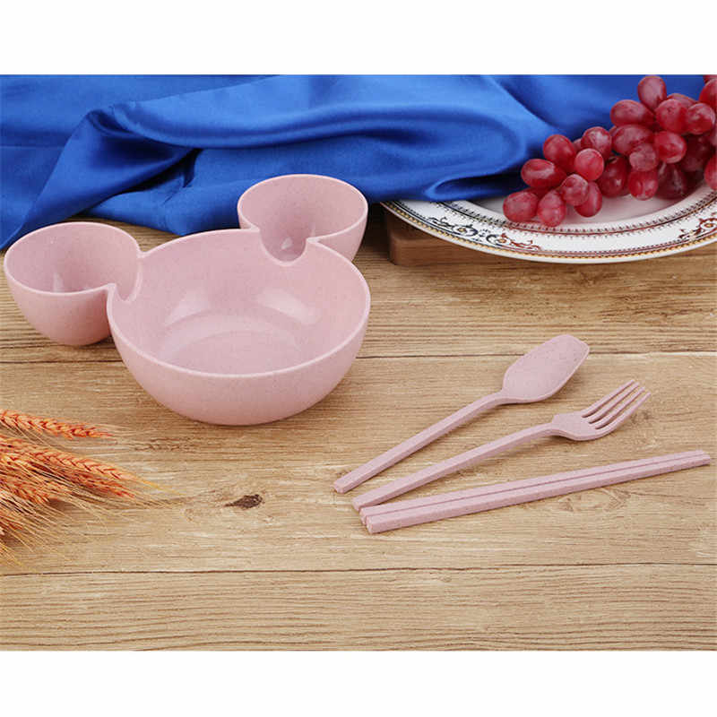 1 Juego de cuenco de paja de trigo juego de vajilla de dibujos animados para niños plato de cena para bebés cuenco de entrenamiento para bebés cuchara tenedor palillos chinos para niños