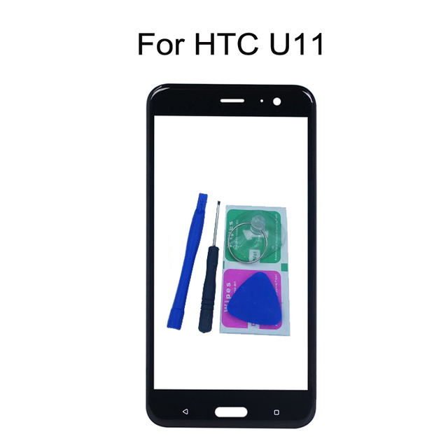 """For HTC U11 U 11 5.5"""" Original Phone Touch Screen Front Outer Glass Panel Replacement With Adhesive + Tools"""