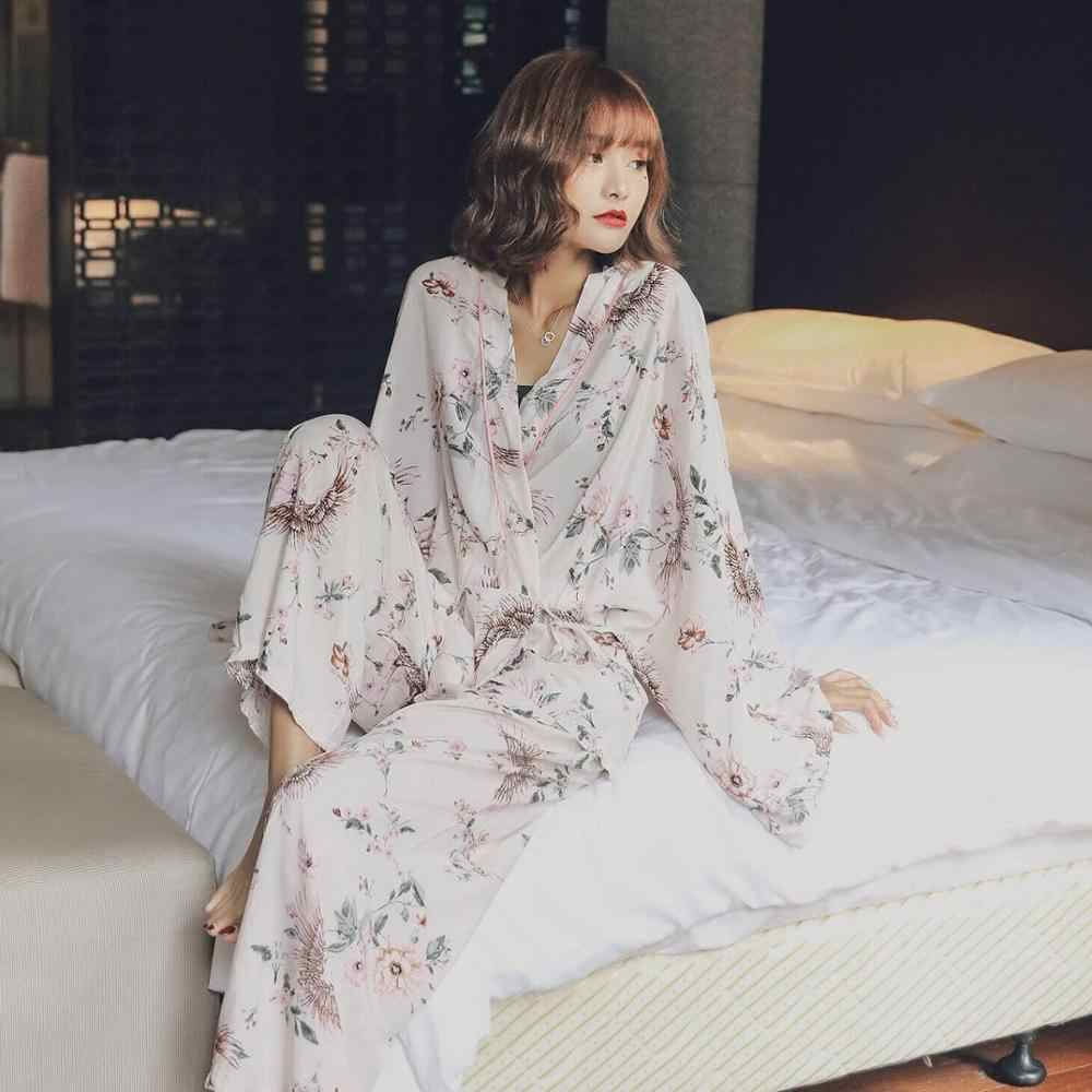 Frauen Pyjamas Frische Blätter Frühling Sommer Pijamas Set Damen Schlaf Set Nacht Kimono Bad Frauen Pyjama Sets Lange Hose Set robe