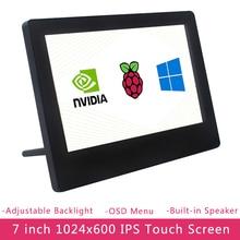 7 인치 라즈베리 파이 4 IPS 터치 스크린 1024x600 LCD 조정 가능한 밝기 디스플레이 PC 노트북 Jetson 나노 라즈베리 파이 4B/3B +