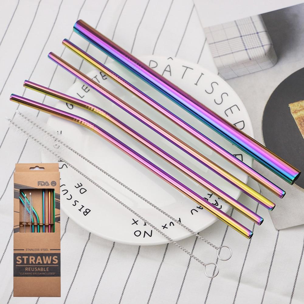 New 304 Stainless Steel Straight Bent Drinking Straw Multicolor Gilded Milk Tea Coffee Drink Straw Kraft Paper Box Set