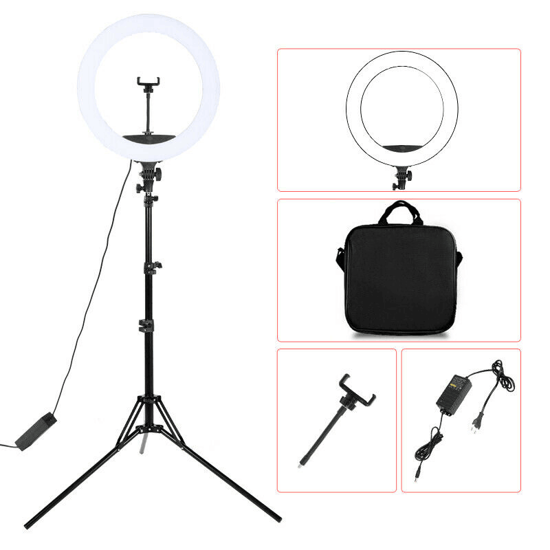 H8e4a4c59af34417e9738e56cd87f8281G WalkingWay 18 inch LED Ring Light with Tripod Dimmable Photographic Lighting Studio Video light for tik tok Makeup Youtube Live