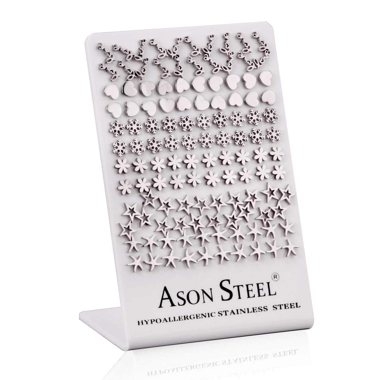 Image 4 - LUXUKISSKIDS 60paris/lot Different Patterns Small Stud Earrings  Set Stainless Steel Screw Plug Earring For Women Kids Girl MenStud  Earrings