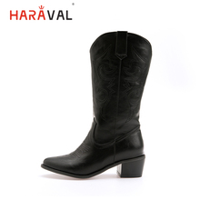HARAVAL Classic Woman Winter Basic Ankle Boots High Quality Of Pointed Toe Square Heel Shoes Solid Soft Casual Lady B280