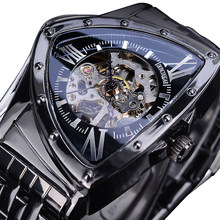 DUNCOUGAR Triangle Skeleton Black Automatic Watch Stainless Steel Men Waterproof Business Sport Irregular Mechanical Wristwatch
