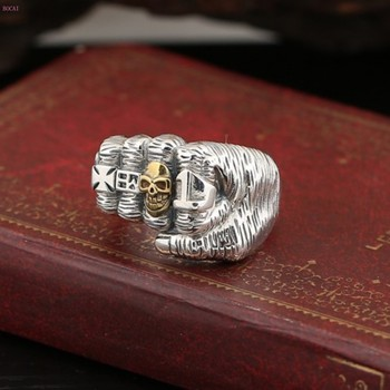 2019 new S925 sterling silver jewelry Personality tide man Index finger ring Skull Clenching fist thai silerRing for men