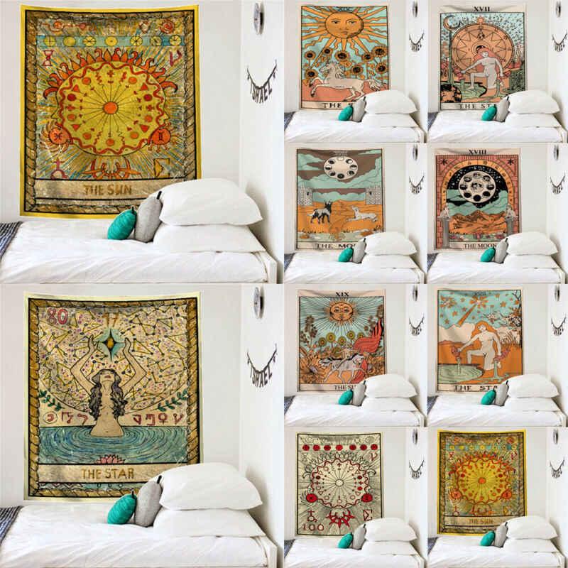 Mandala India Wall Hanging Permadani Sun Moon Tarot Dinding Permadani Psychedelic Karpet Permadani Sihir Dinding Permadani