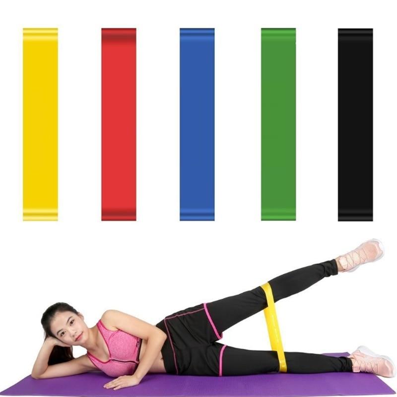 Kadın elastik direnç bantları egzersiz kauçuk döngü Fitness spor salonu gücü eğitim elastik Yoga bantları spor