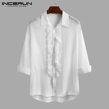 Dress Shirt Camisa Button Stage Wedding-Party INCERUN Elegant Fashion Men Lapel Brand