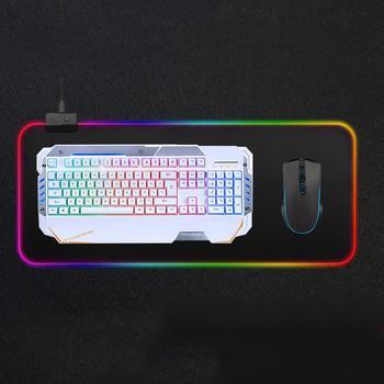 Alfombrilla de ratón grande LED RGB, iluminación con cable USB, para jugador...