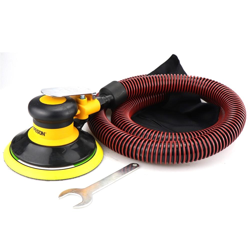 Tools : Air Sander Polisher with Vacuuming 6   150mm Car Paint Care Tool Polishing Random Orbital Palm Hard  amp  Soft Brush M8 Threaded