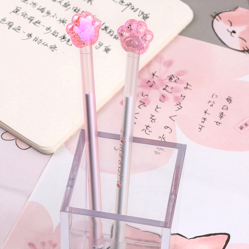 1X Cute Shiny Pink Cat Paw Cat Claw Gel Pen Writing Signing Pen Student Stationery School Office Supply Kids Gift 0.5mm Black