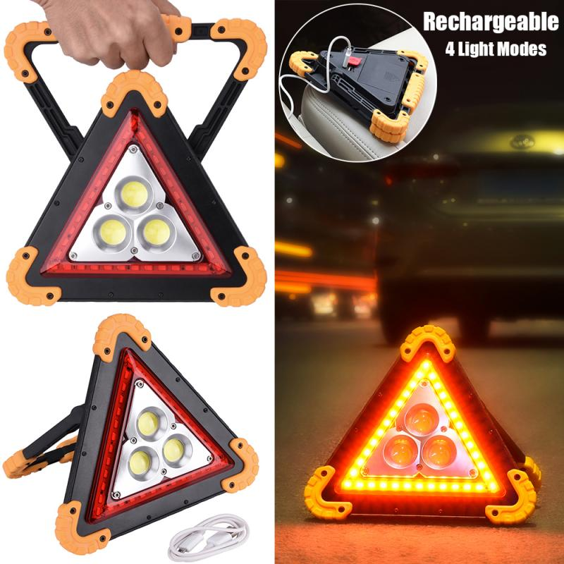 4 Modes COB LED Portable Triangle Warning Led Floodlight Car Repairing Work Lamp Multi-function Handle Camping Light